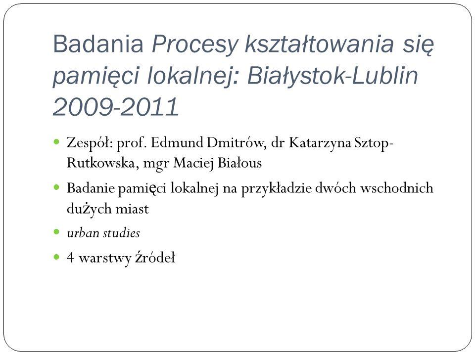 Badania Procesy kształtowania się pamięci lokalnej: Białystok-Lublin 2009-2011