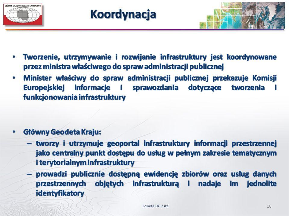 Koordynacja Tworzenie, utrzymywanie i rozwijanie infrastruktury jest koordynowane przez ministra właściwego do spraw administracji publicznej.
