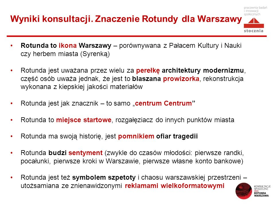 Wyniki konsultacji. Znaczenie Rotundy dla Warszawy