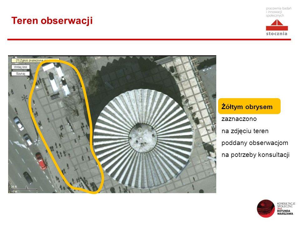 Teren obserwacji Żółtym obrysem zaznaczono na zdjęciu teren poddany obserwacjom na potrzeby konsultacji.
