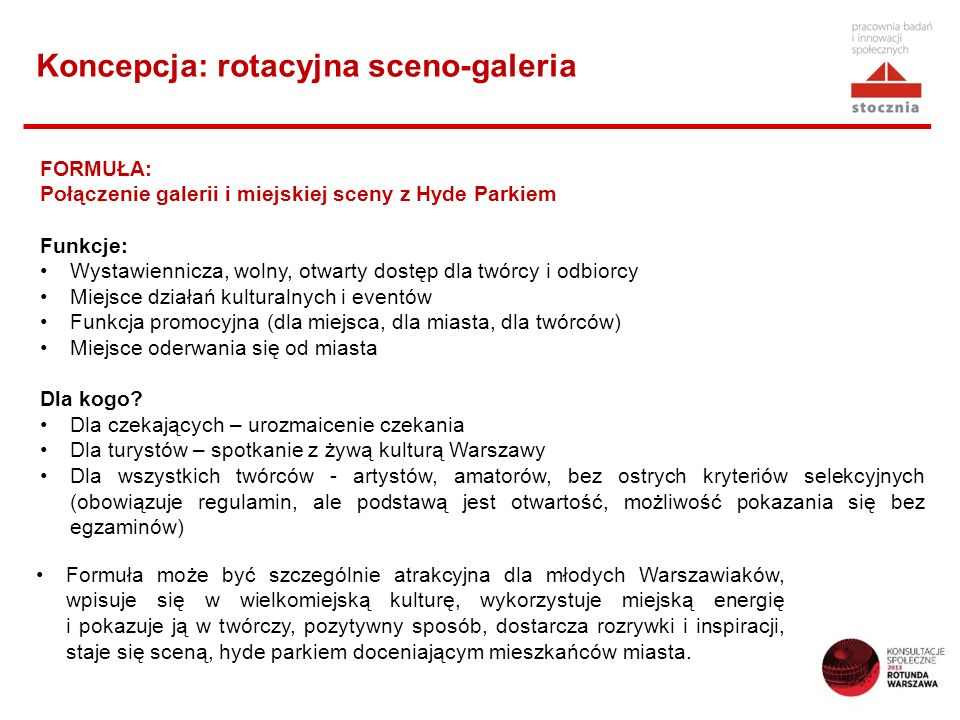 Koncepcja: rotacyjna sceno-galeria