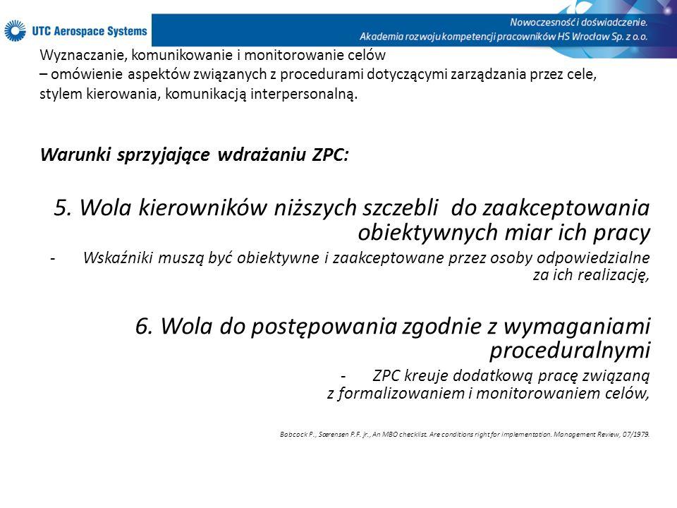 6. Wola do postępowania zgodnie z wymaganiami proceduralnymi