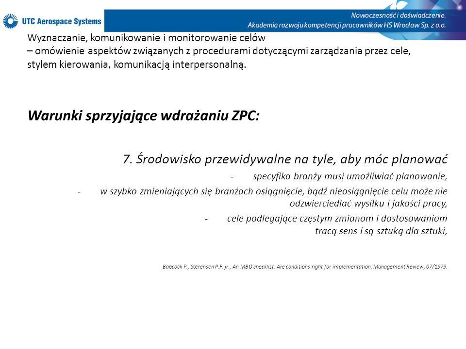 Warunki sprzyjające wdrażaniu ZPC: