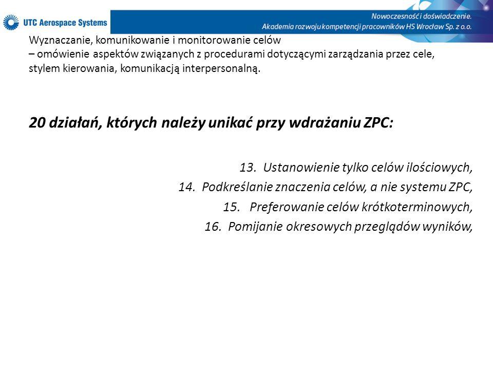 20 działań, których należy unikać przy wdrażaniu ZPC: