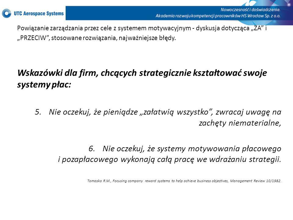 """Powiązanie zarządzania przez cele z systemem motywacyjnym - dyskusja dotycząca """"ZA i """"PRZECIW , stosowane rozwiązania, najważniejsze błędy."""