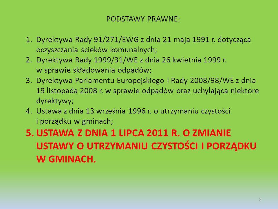 PODSTAWY PRAWNE: Dyrektywa Rady 91/271/EWG z dnia 21 maja 1991 r. dotycząca oczyszczania ścieków komunalnych;