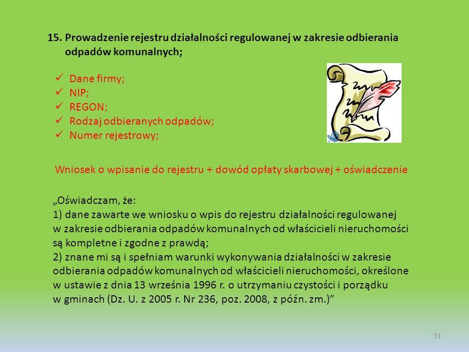 Prowadzenie rejestru działalności regulowanej w zakresie odbierania odpadów komunalnych;