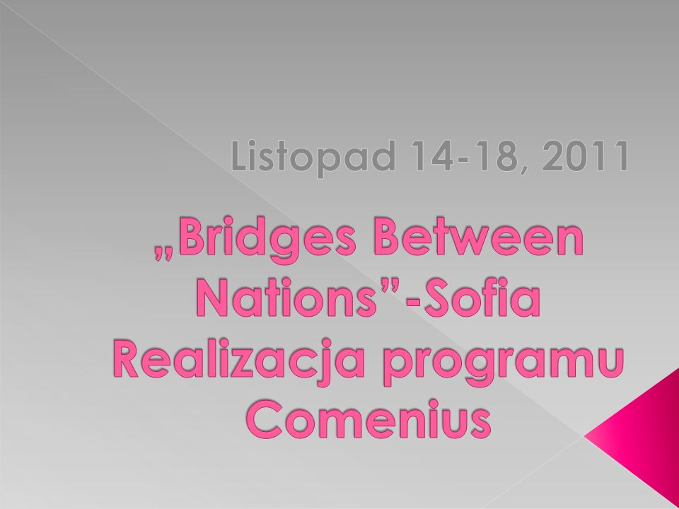 """Bridges Between Nations -Sofia Realizacja programu Comenius"