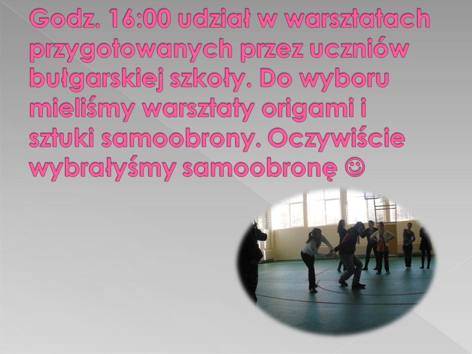 Godz. 16:00 udział w warsztatach przygotowanych przez uczniów bułgarskiej szkoły.
