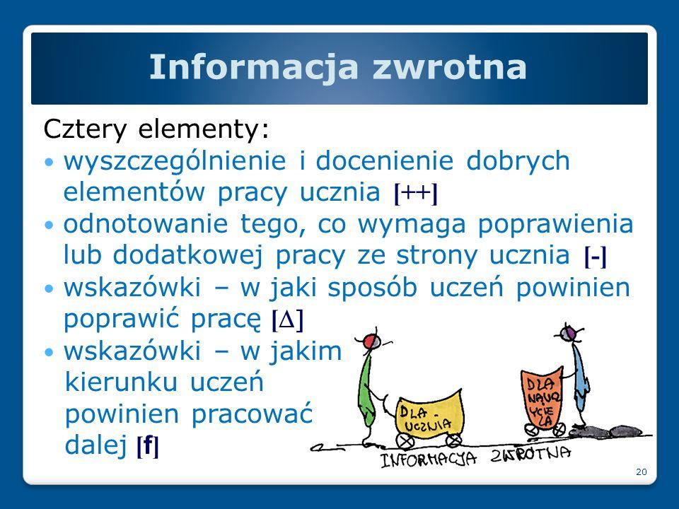 Informacja zwrotna Cztery elementy: