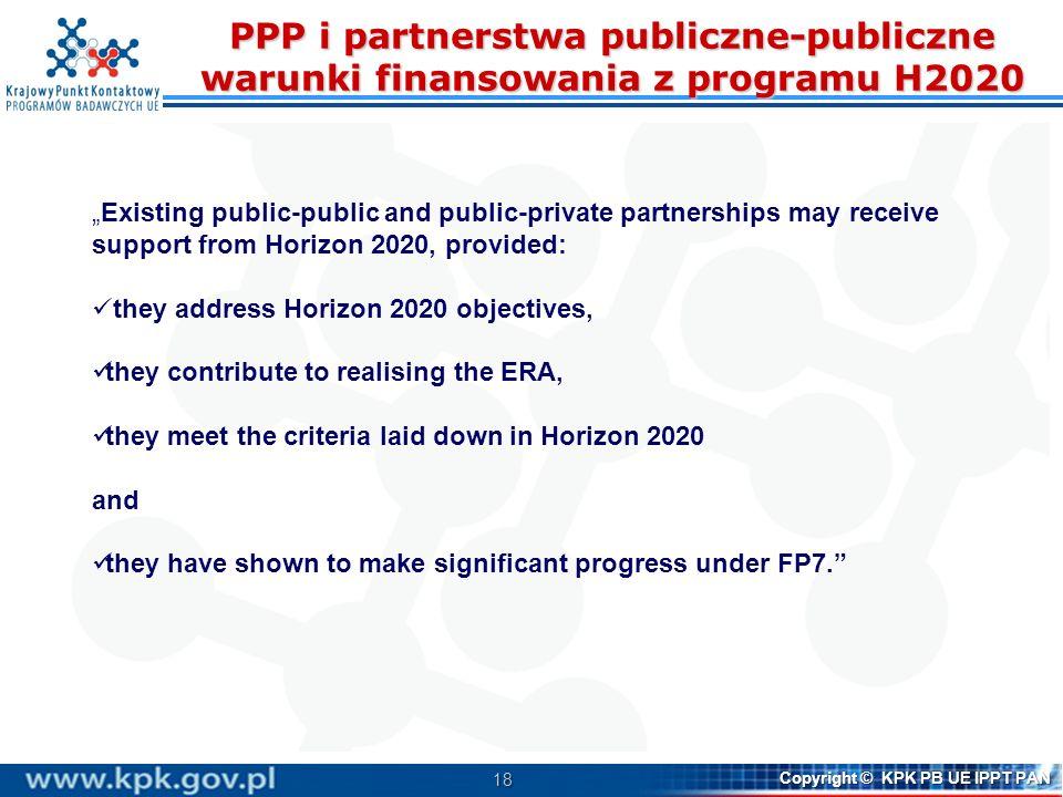 PPP i partnerstwa publiczne-publiczne warunki finansowania z programu H2020