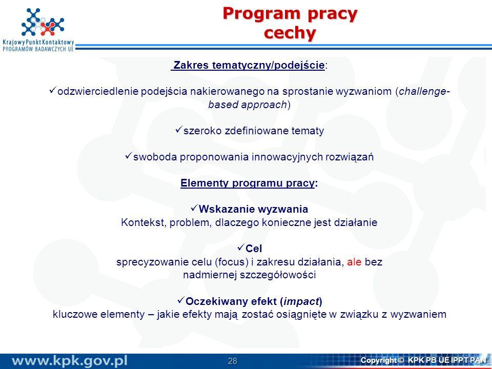 Elementy programu pracy: