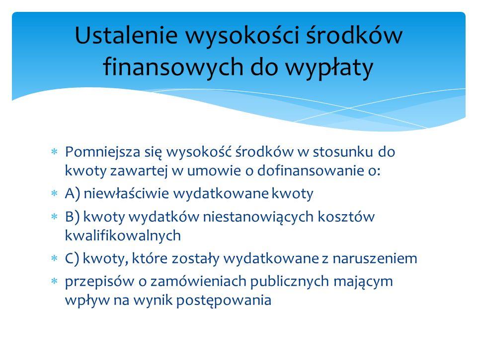 Ustalenie wysokości środków finansowych do wypłaty