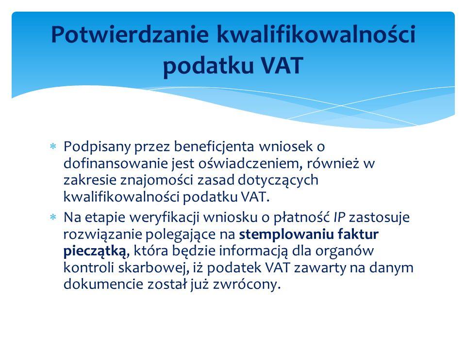 Potwierdzanie kwalifikowalności podatku VAT