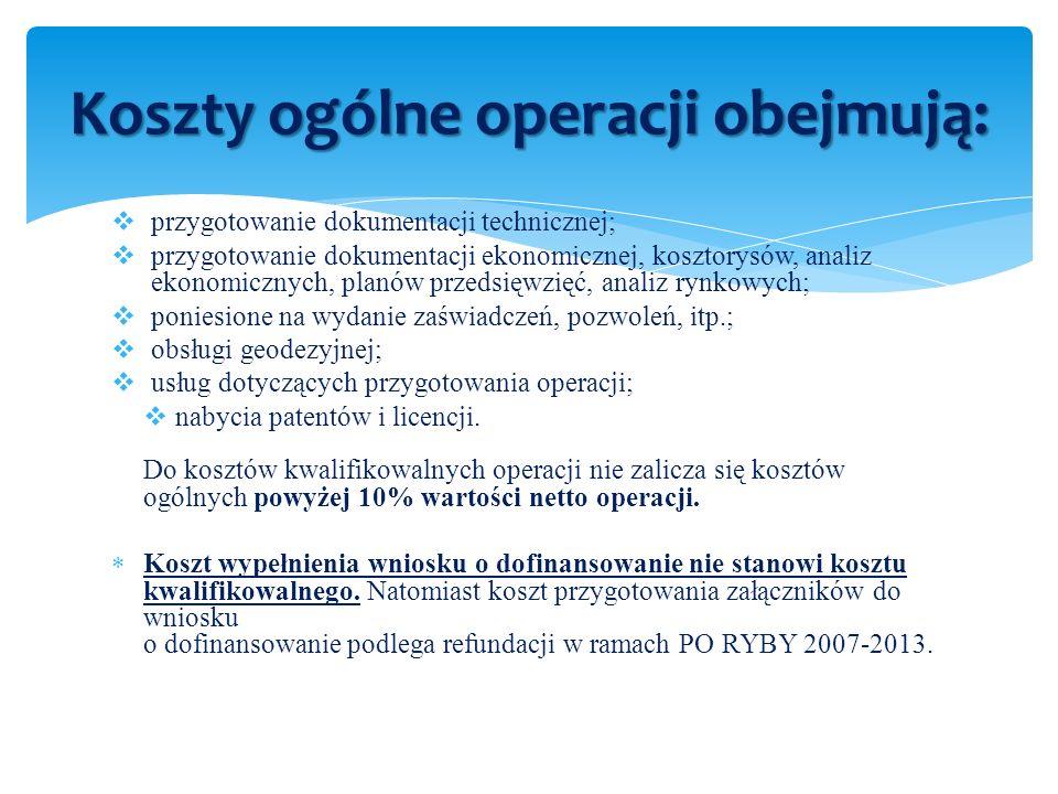 Koszty ogólne operacji obejmują: