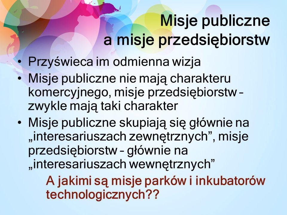 Misje publiczne a misje przedsiębiorstw
