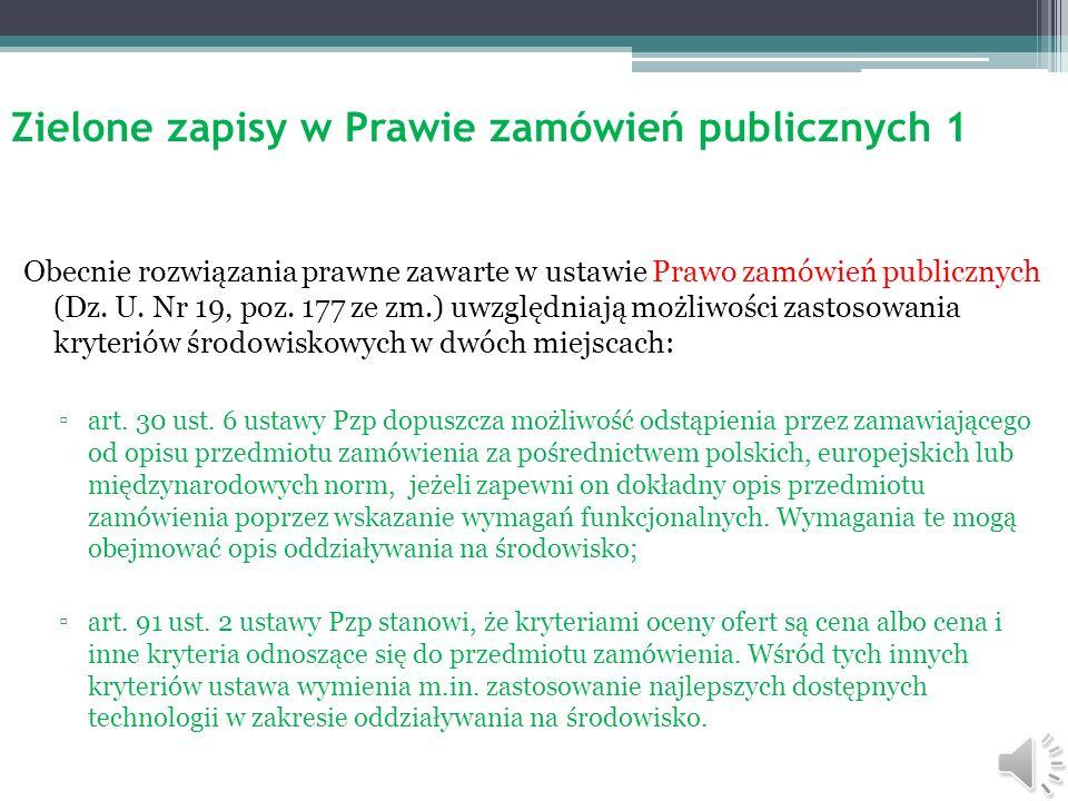 Zielone zapisy w Prawie zamówień publicznych 1