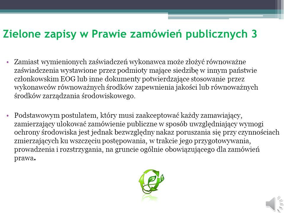 Zielone zapisy w Prawie zamówień publicznych 3