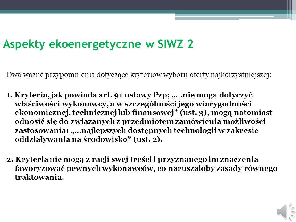 Aspekty ekoenergetyczne w SIWZ 2