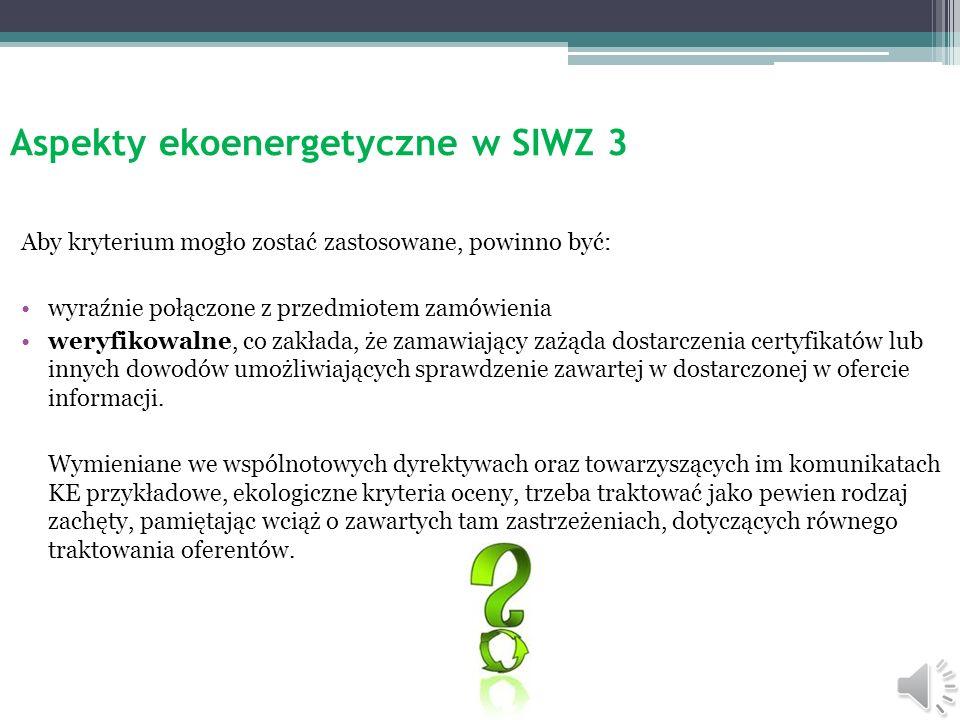 Aspekty ekoenergetyczne w SIWZ 3