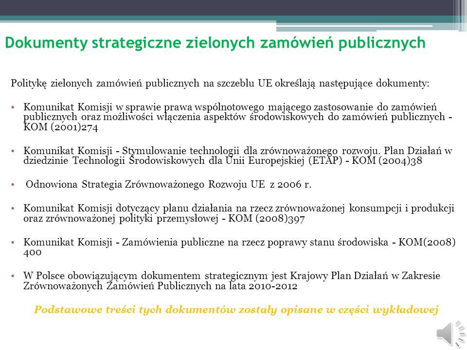 Dokumenty strategiczne zielonych zamówień publicznych