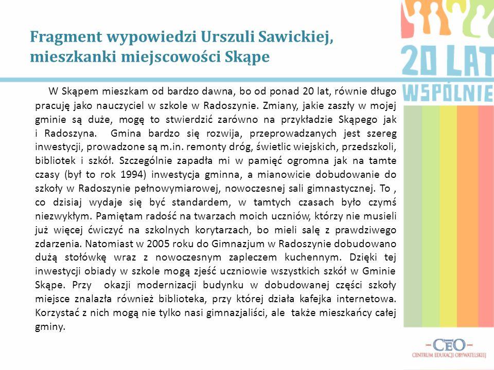 Fragment wypowiedzi Urszuli Sawickiej, mieszkanki miejscowości Skąpe