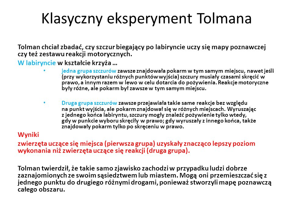 Klasyczny eksperyment Tolmana