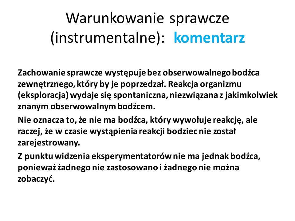 Warunkowanie sprawcze (instrumentalne): komentarz