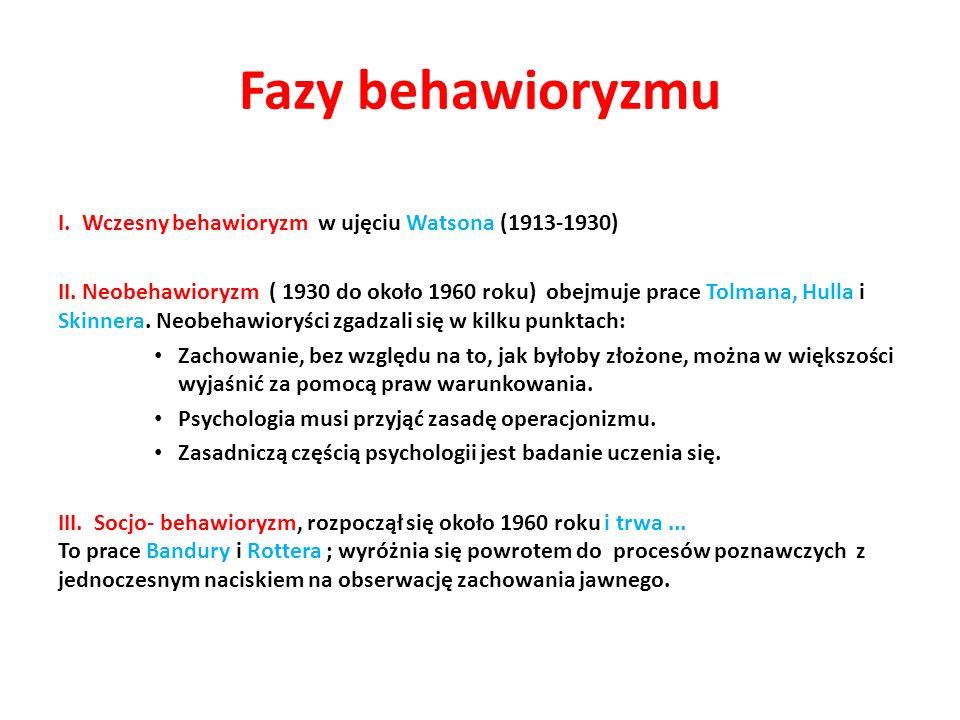 Fazy behawioryzmu I. Wczesny behawioryzm w ujęciu Watsona (1913-1930)