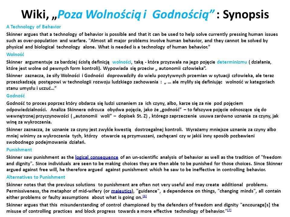 """Wiki, """"Poza Wolnością i Godnością : Synopsis"""