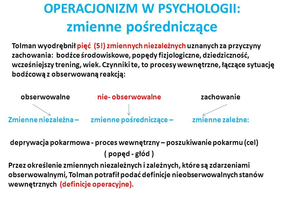 OPERACJONIZM W PSYCHOLOGII: zmienne pośredniczące