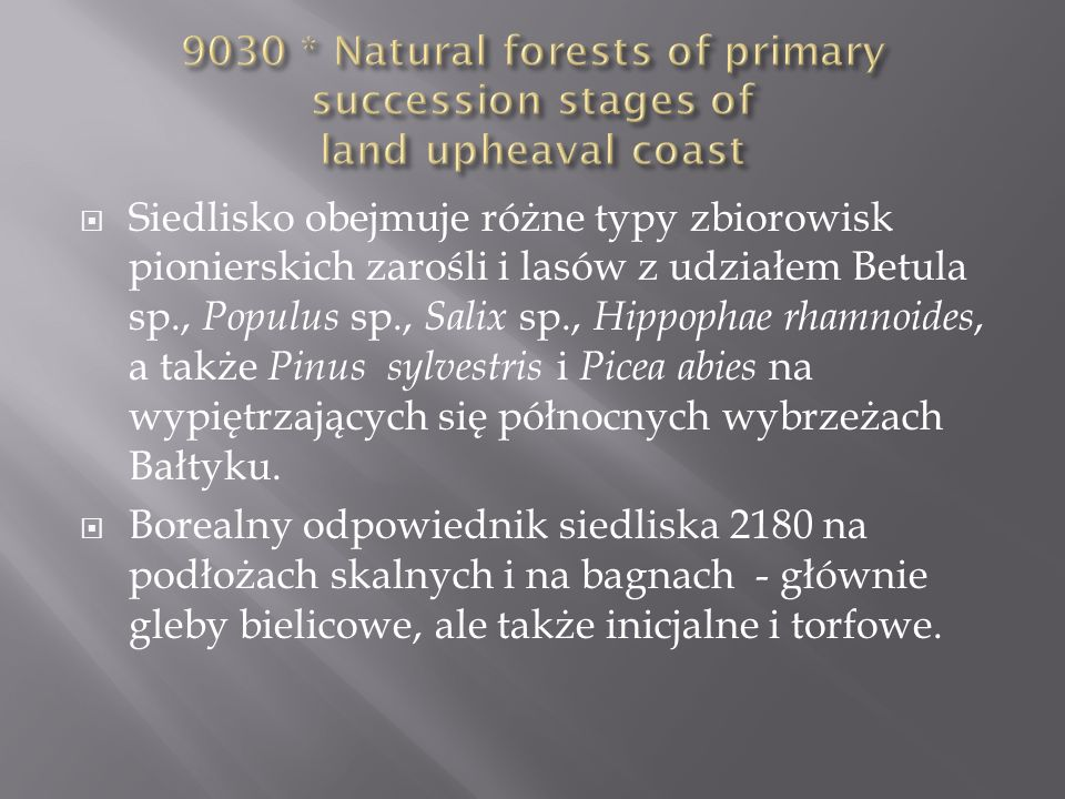 9030 * Natural forests of primary succession stages of land upheaval coast