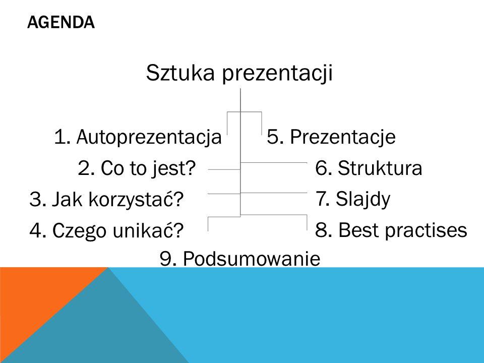 Agenda Sztuka prezentacji. 1. Autoprezentacja 2. Co to jest 3. Jak korzystać 4. Czego unikać 5. Prezentacje.