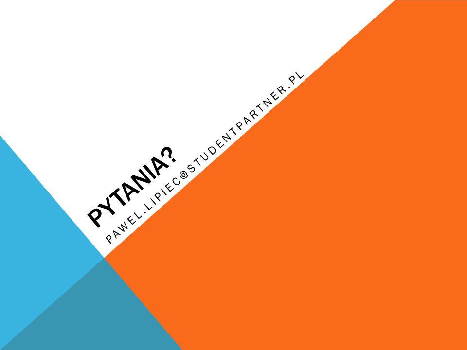 PYTANIA pawel.lipiec@studentpartner.pl