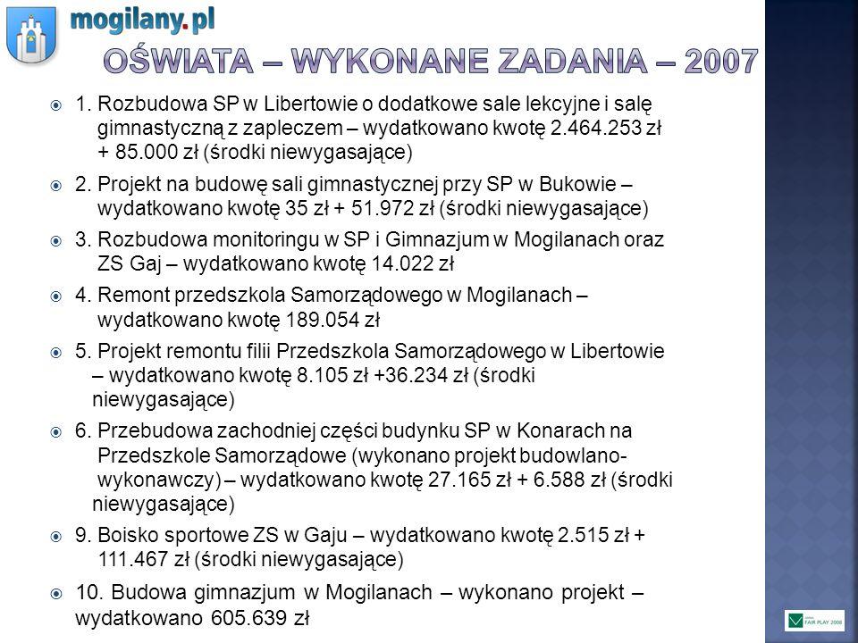 OŚWIATA – WYKONANE ZADANIA – 2007