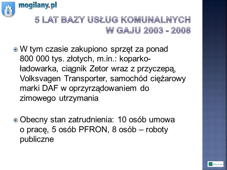5 lat bazy usług komunalnych w gaju 2003 - 2008