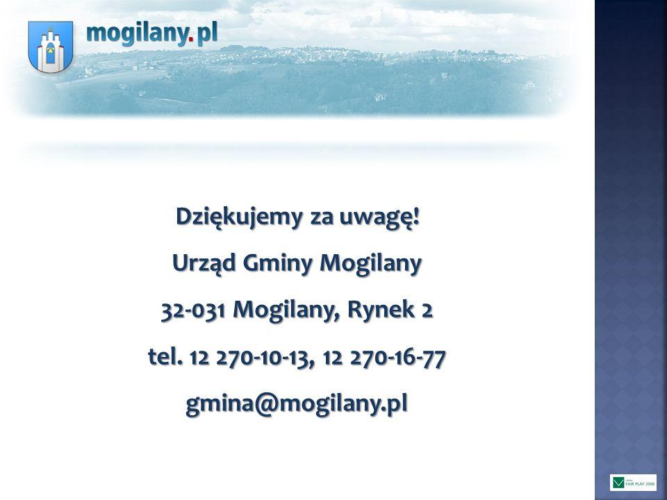 Dziękujemy za uwagę! Urząd Gminy Mogilany. 32-031 Mogilany, Rynek 2. tel. 12 270-10-13, 12 270-16-77.