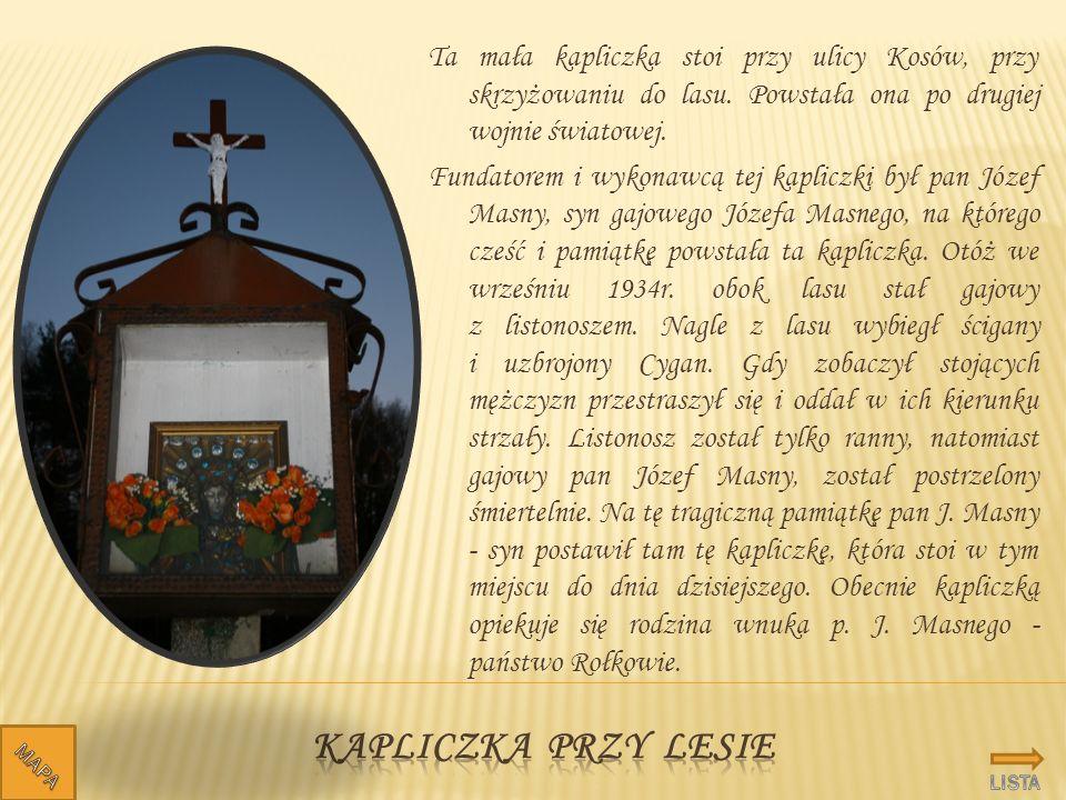 Ta mała kapliczka stoi przy ulicy Kosów, przy skrzyżowaniu do lasu