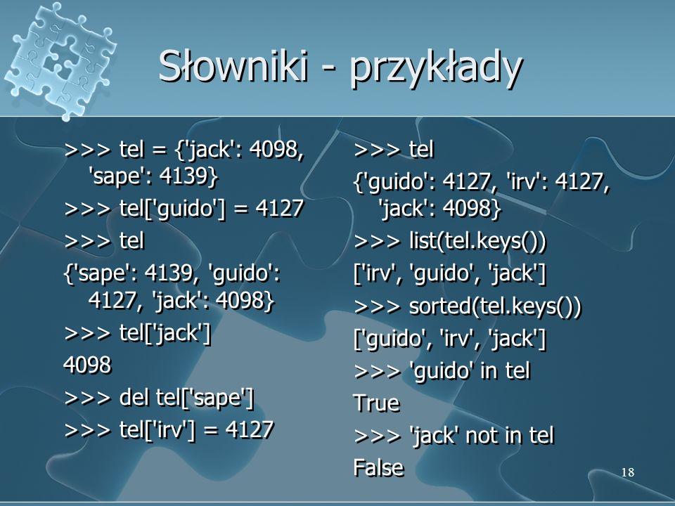 Słowniki - przykłady
