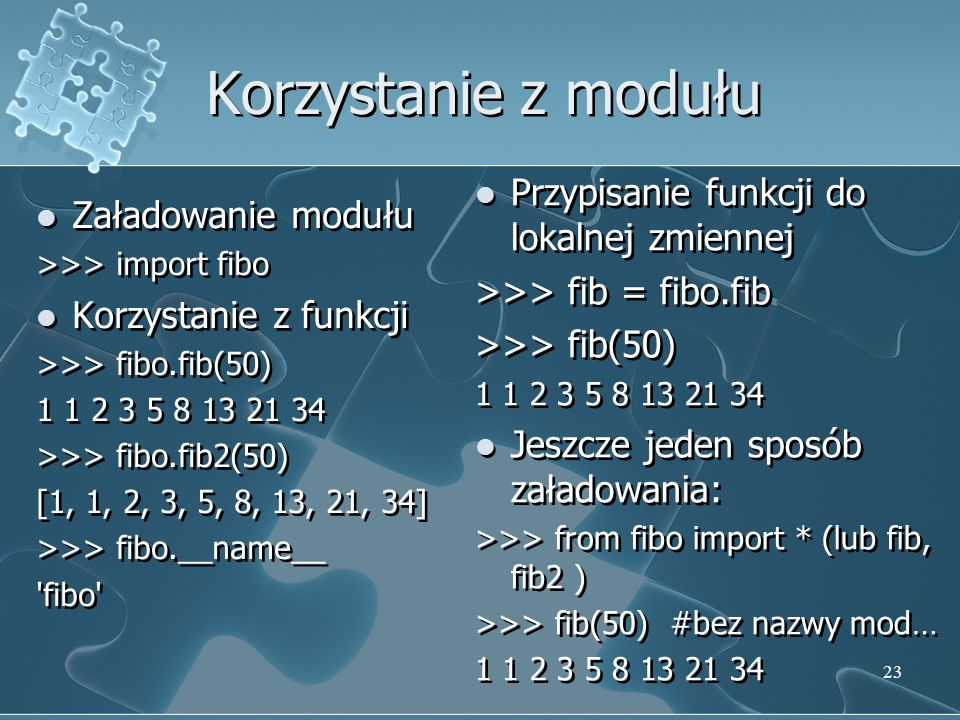 Korzystanie z modułu Przypisanie funkcji do lokalnej zmiennej