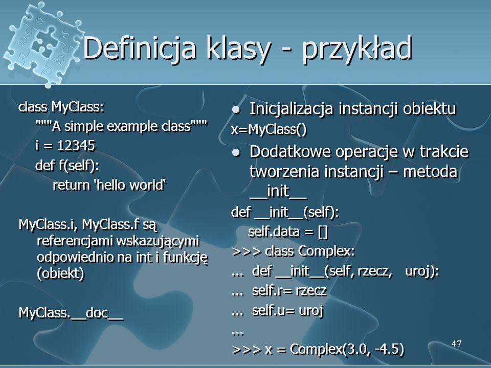 Definicja klasy - przykład