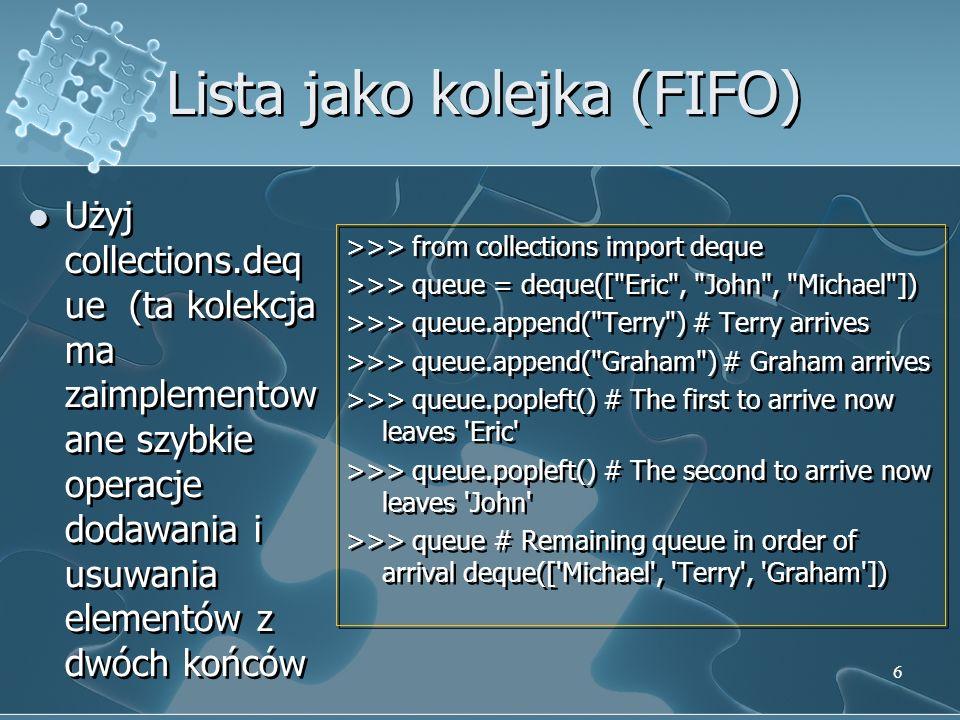 Lista jako kolejka (FIFO)