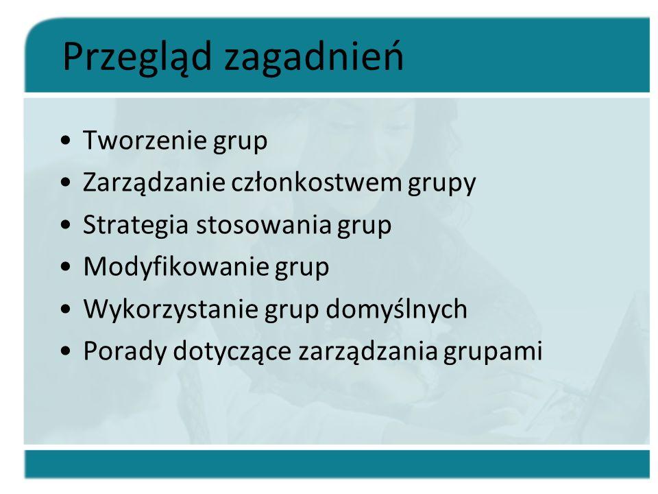 Przegląd zagadnień Tworzenie grup Zarządzanie członkostwem grupy