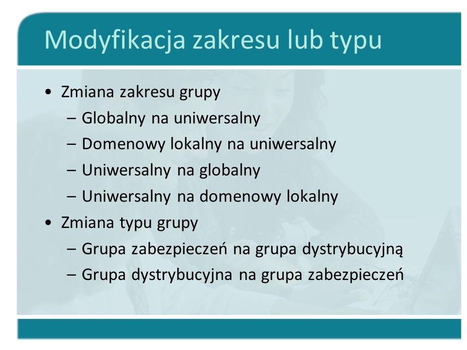 Modyfikacja zakresu lub typu