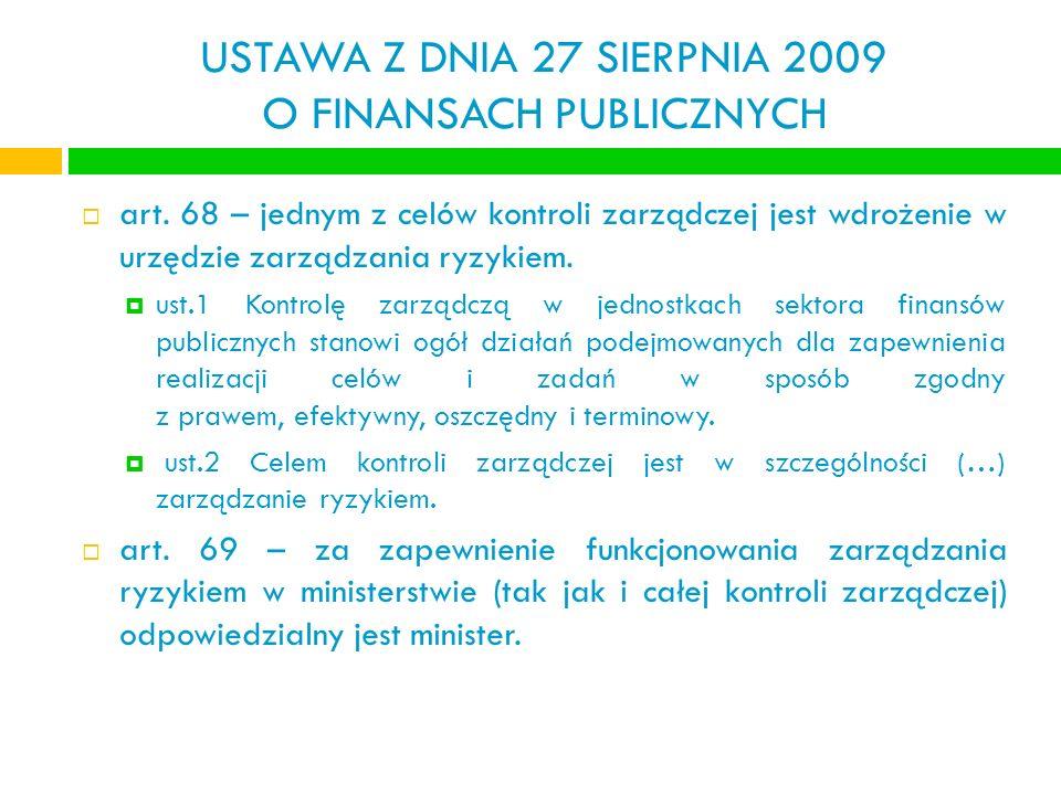 USTAWA Z DNIA 27 SIERPNIA 2009 O FINANSACH PUBLICZNYCH