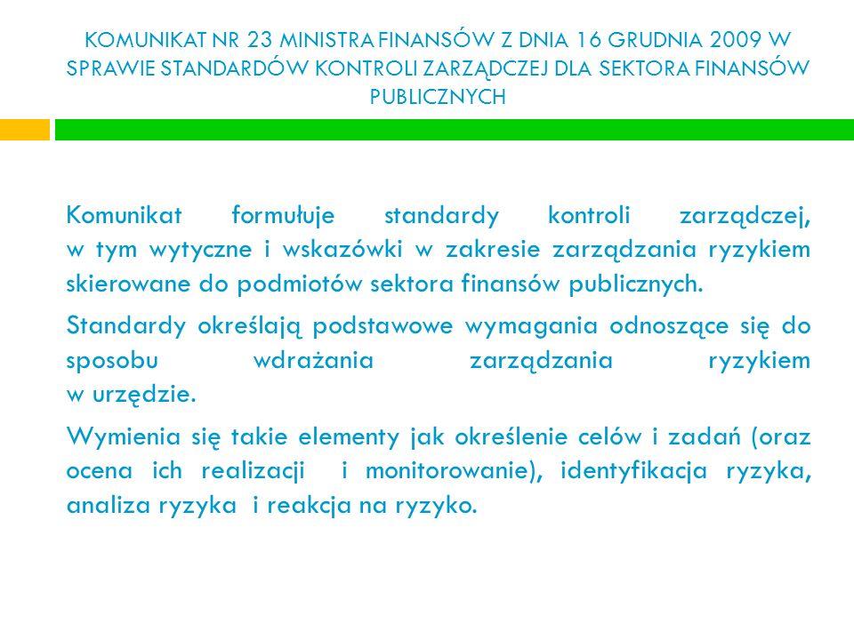 KOMUNIKAT NR 23 MINISTRA FINANSÓW Z DNIA 16 GRUDNIA 2009 W SPRAWIE STANDARDÓW KONTROLI ZARZĄDCZEJ DLA SEKTORA FINANSÓW PUBLICZNYCH