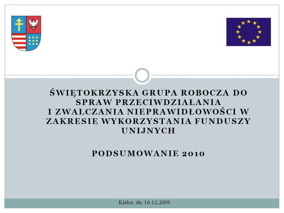 Świętokrzyska Grupa Robocza do spraw Przeciwdziałania i Zwalczania Nieprawidłowości w Zakresie Wykorzystania FUNDUSZY Unijnych