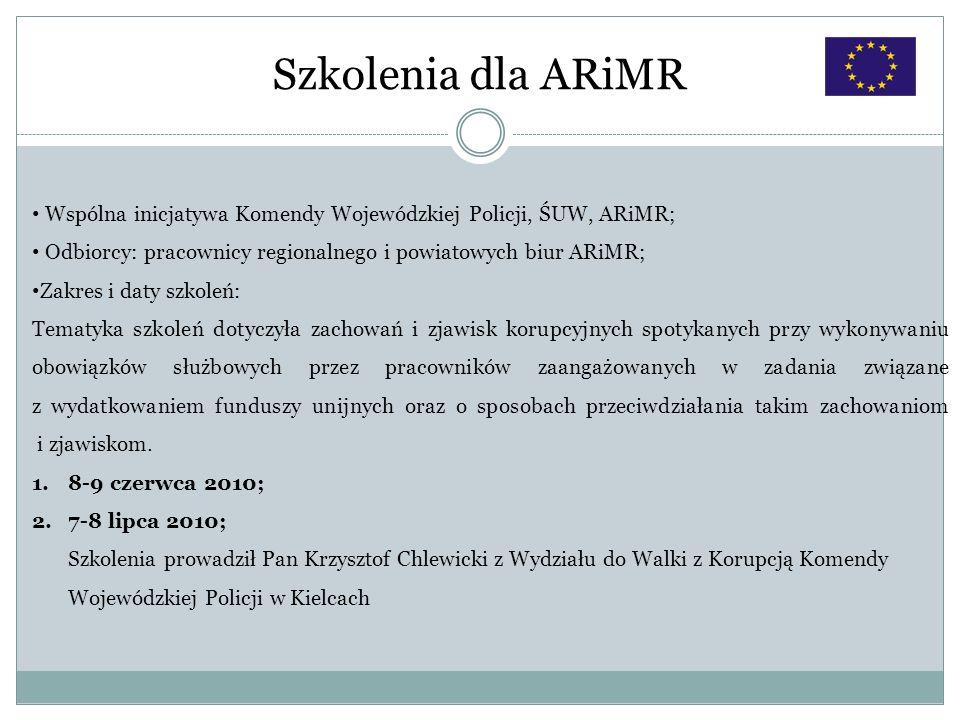 Szkolenia dla ARiMRWspólna inicjatywa Komendy Wojewódzkiej Policji, ŚUW, ARiMR; Odbiorcy: pracownicy regionalnego i powiatowych biur ARiMR;
