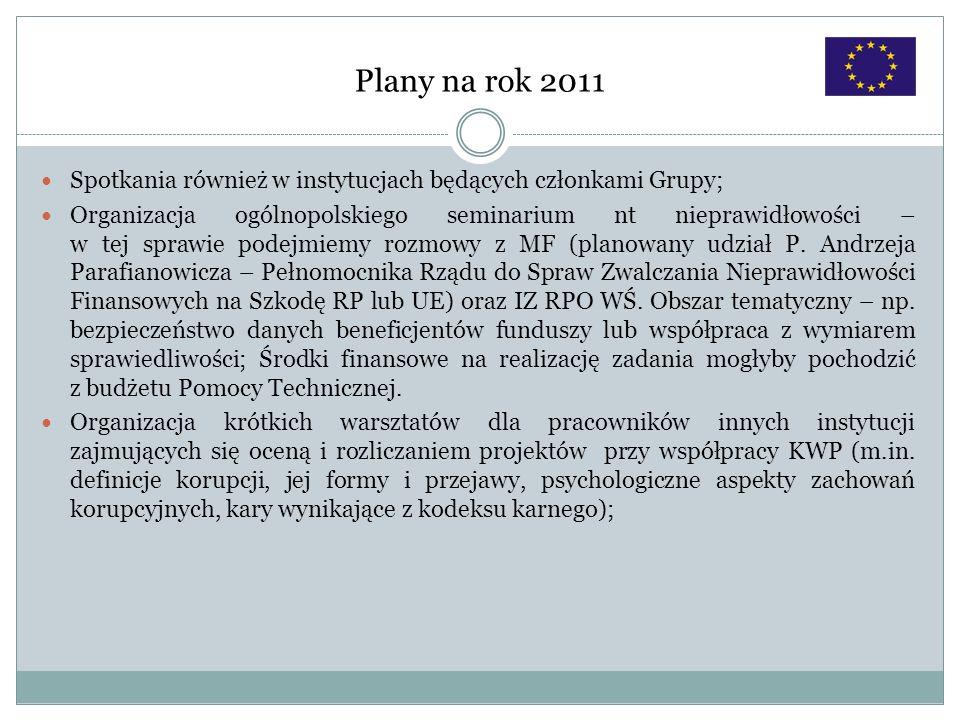 Plany na rok 2011Spotkania również w instytucjach będących członkami Grupy;