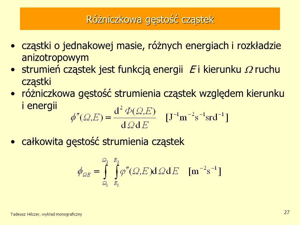 Różniczkowa gęstość cząstek